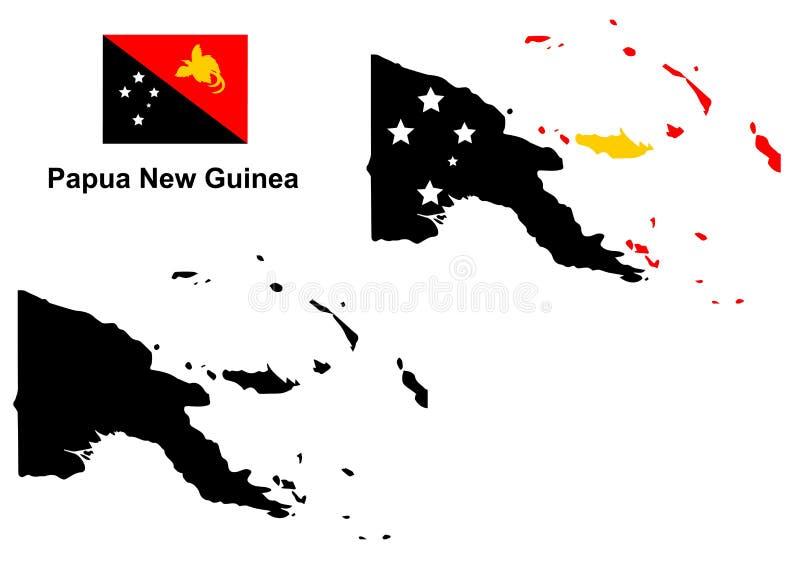 Vettore della mappa della Papuasia Nuova Guinea, vettore della bandiera della Papuasia Nuova Guinea, Papuasia Nuova Guinea isolat illustrazione di stock