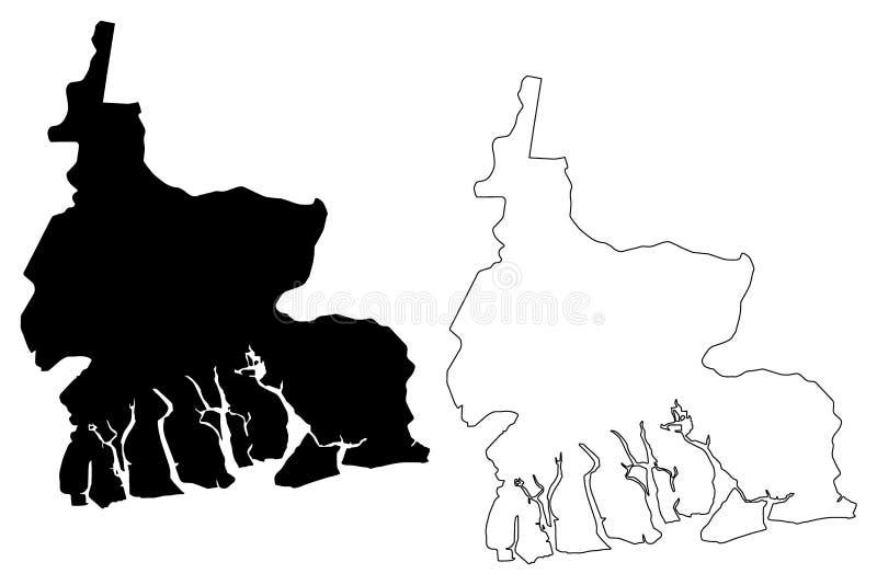 Vettore della mappa dello stato dei fiumi royalty illustrazione gratis