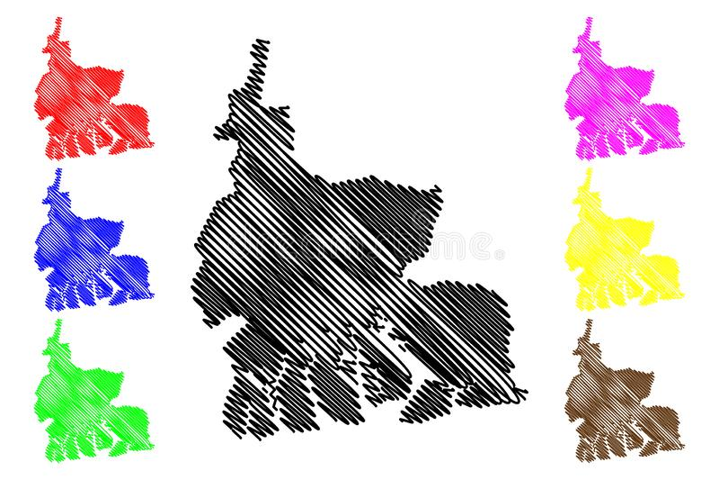 Vettore della mappa dello stato dei fiumi illustrazione vettoriale