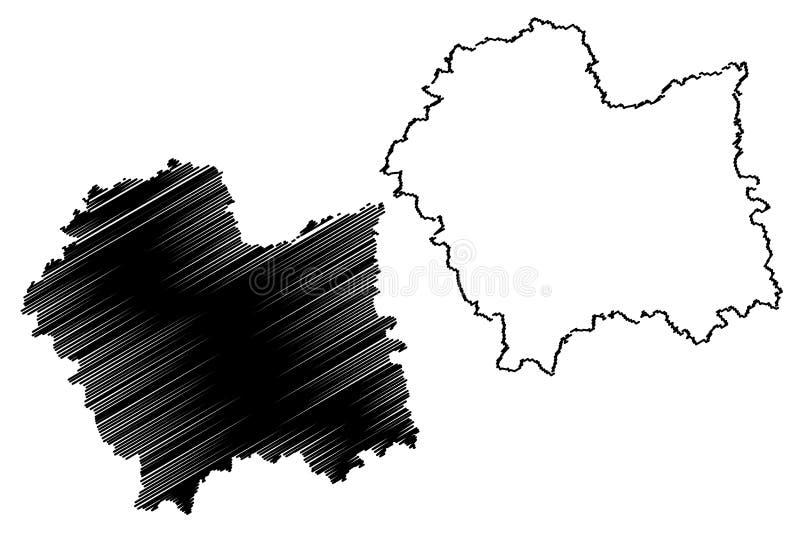 Vettore della mappa di Lesser Poland Voivodeship illustrazione vettoriale