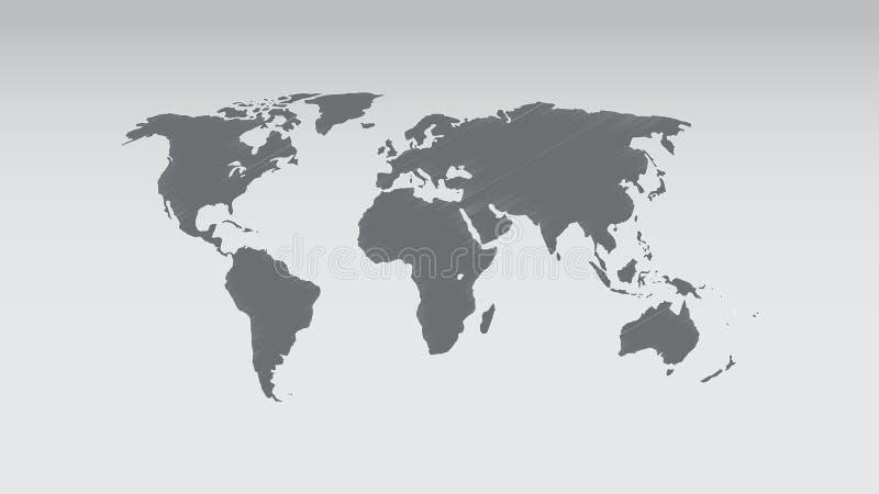Vettore della mappa di mondo, effetto dello scarabocchio, isolato su fondo in bianco, mappa piana della terra per il sito Web, ra illustrazione vettoriale