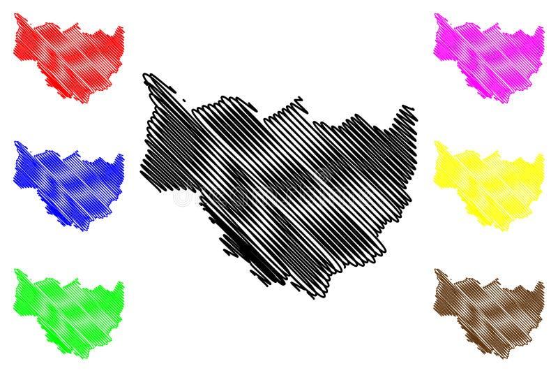 Vettore della mappa di regione delle cascate illustrazione di stock