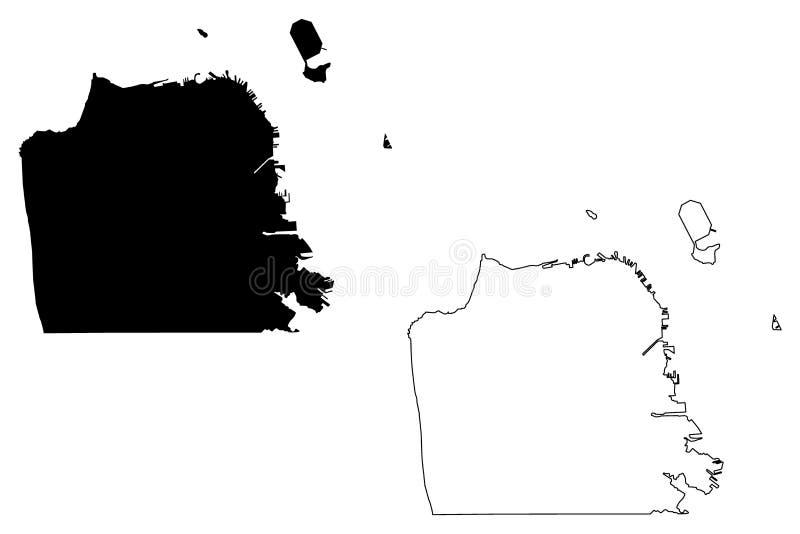 Vettore della mappa di San Francisco City illustrazione vettoriale