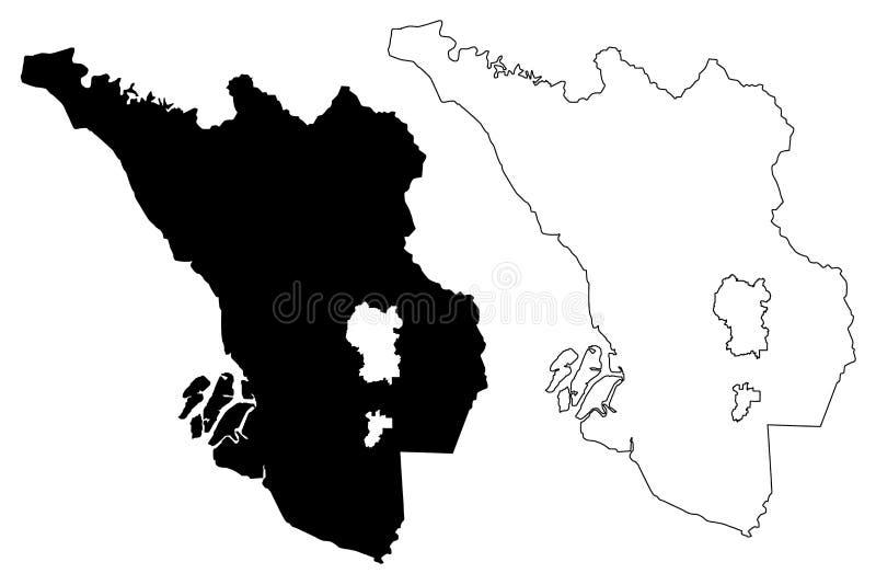 Vettore della mappa di Selangor illustrazione vettoriale