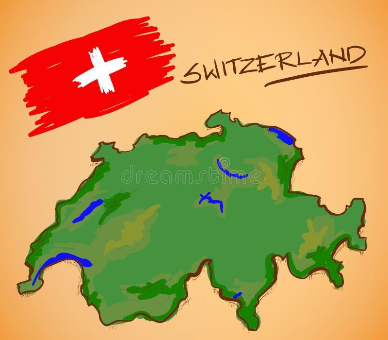 Vettore della mappa e della bandiera nazionale della Svizzera illustrazione vettoriale
