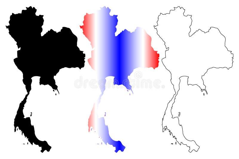 Vettore della mappa della Tailandia illustrazione di stock
