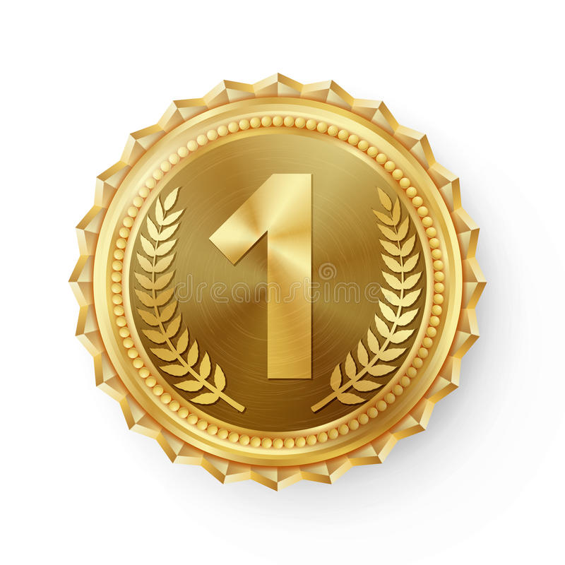 Vettore della medaglia d'oro Etichetta rotonda di campionato Premio di sfida della concorrenza Nastro rosso Su bianco realistico illustrazione vettoriale