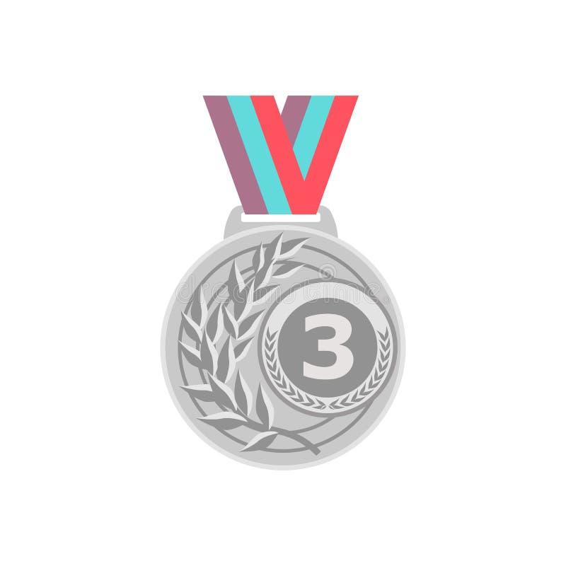 Vettore della medaglia d'oro Primo distintivo dorato del posto Premio dorato di sfida del gioco di sport Nastro rosso Isolato Oli illustrazione di stock