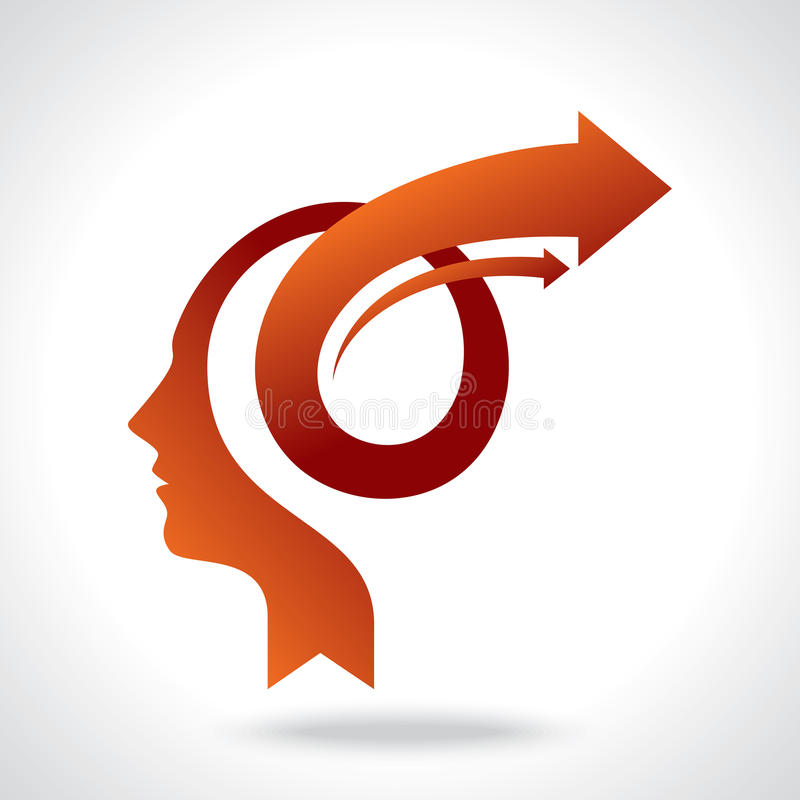 Vettore della mente di affari con le frecce illustrazione di stock