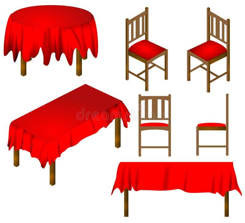 Vettore della mobilia della sala da pranzo delle sedie e della Tabella illustrazione vettoriale