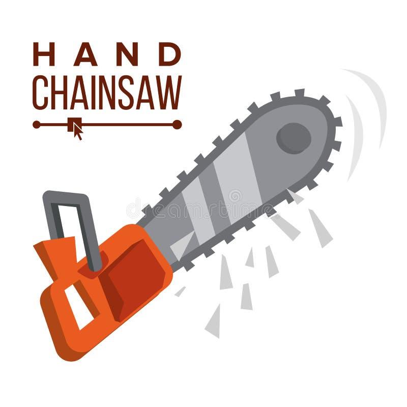 Vettore della motosega della mano Motosega della benzina Strumento professionale, attrezzo Illustrazione piana del fumetto illustrazione di stock
