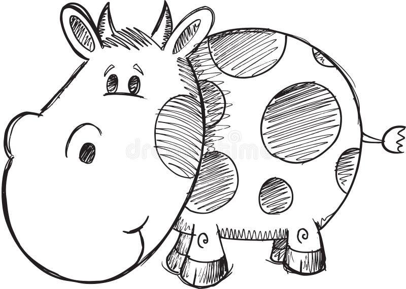 Vettore della mucca di scarabocchio