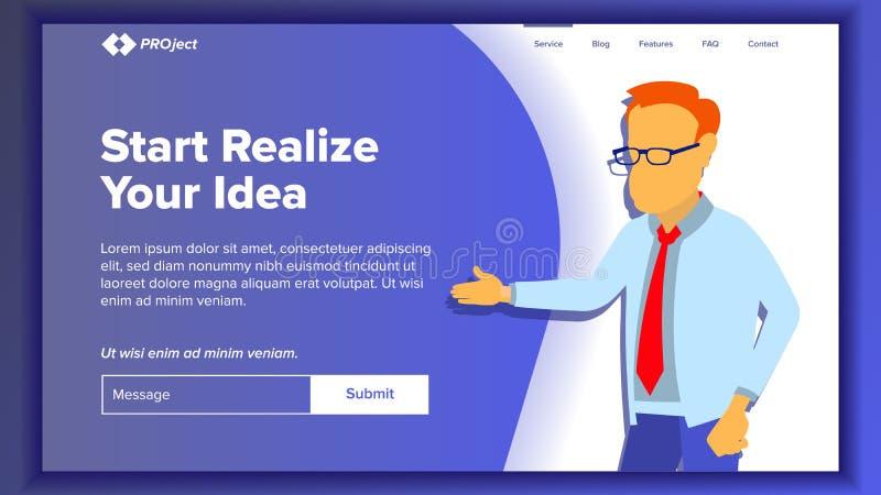 Vettore della pagina del sito Web di atterraggio Sito Web di affari Pagina Web Modello di disegno Raggiunga lo scopo donazione In royalty illustrazione gratis
