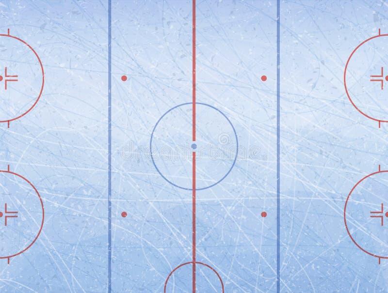 Vettore della pista di pattinaggio del hockey su ghiaccio Struttura il ghiaccio blu Pista di pattinaggio sul ghiaccio Priorità ba royalty illustrazione gratis
