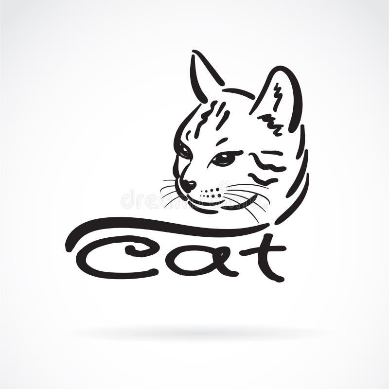 Vettore della pittura capa del gatto a mano libera sul fondo bianco pet animale Illustrazione stratificata editabile facile di ve illustrazione di stock