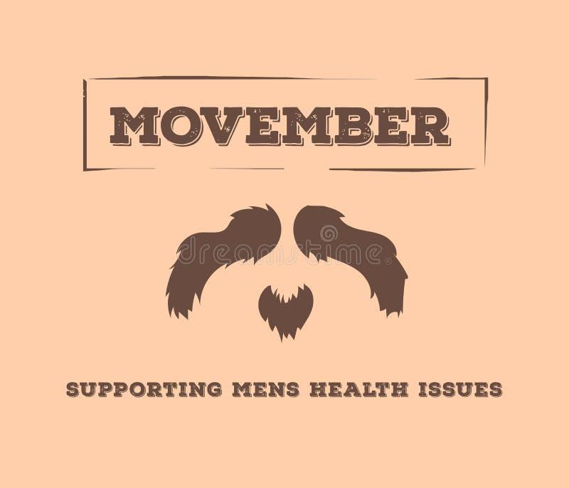 Vettore della pubblicità di Movember con testo ed il grafico illustrazione vettoriale