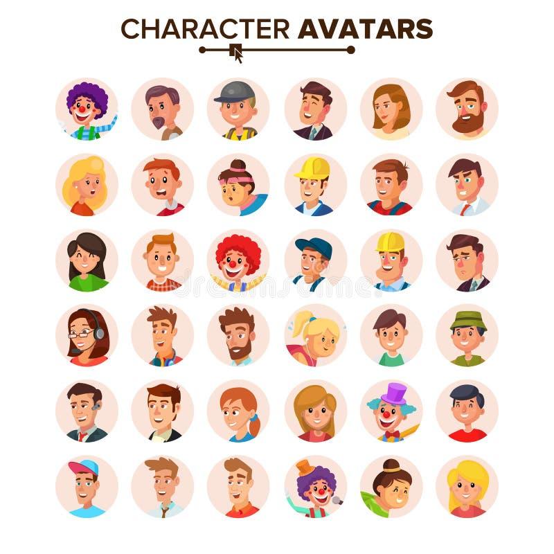 Vettore della raccolta degli avatar della gente Avatar predefinito dei caratteri Illustrazione isolata piano del fumetto illustrazione di stock