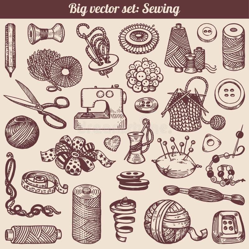 Raccolta di Doodles del cucito e di cucito royalty illustrazione gratis