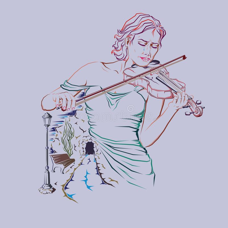 vettore della ragazza del Solo-violino illustrazione di stock