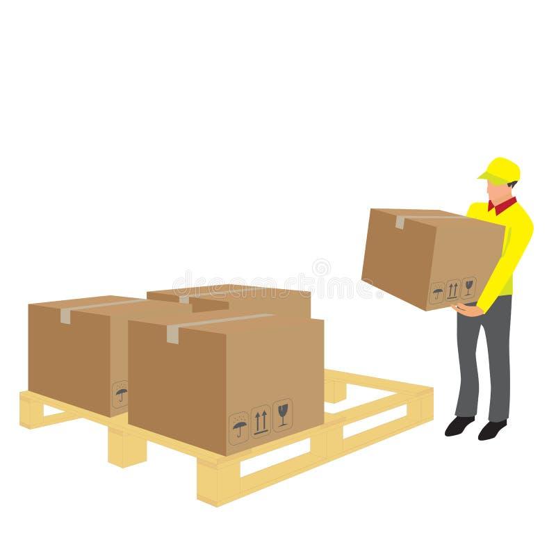 Vettore della scatola di sollevamento del lavoratore in deposito illustrazione vettoriale