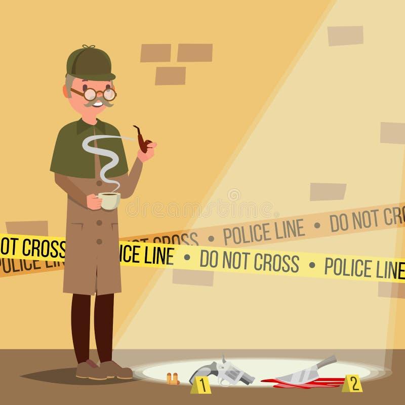 Vettore della scena del crimine Agente investigativo At Crime Scene Illustrazione piana del fumetto illustrazione vettoriale