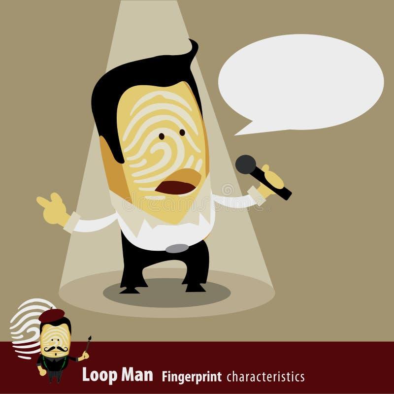 Vettore della serie di caratteristiche dell'uomo di impronta digitale cantante illustrazione vettoriale