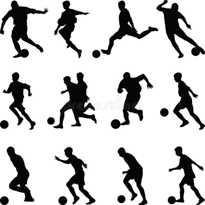 Vettore della siluetta del calciatore fotografia stock libera da diritti