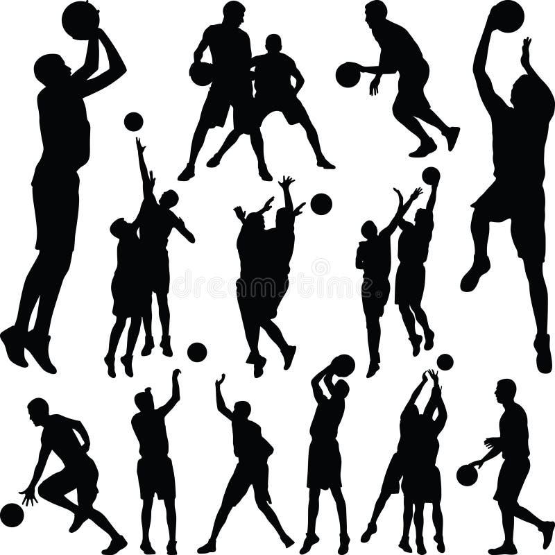 Vettore della siluetta del giocatore di pallacanestro immagine stock