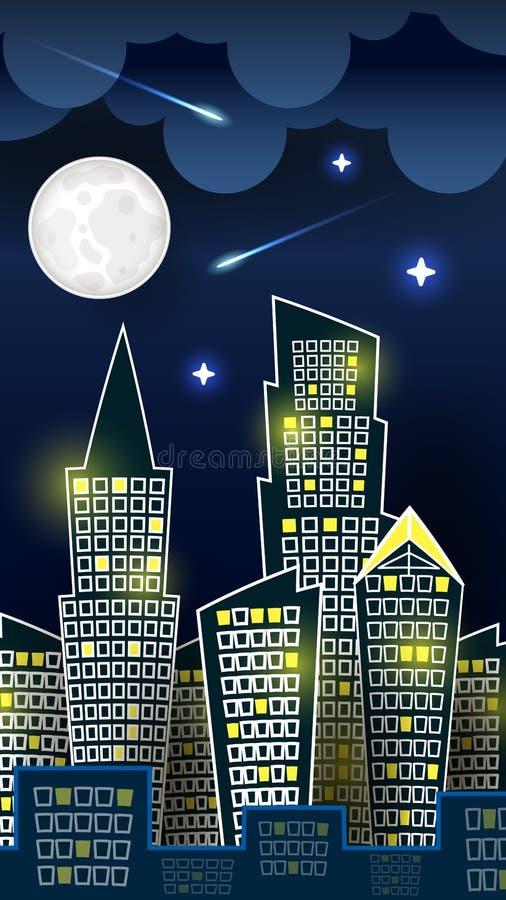 Vettore della siluetta del paesaggio della città di notte sul fondo blu scuro del cielo con la grande luna Art Design For Web royalty illustrazione gratis