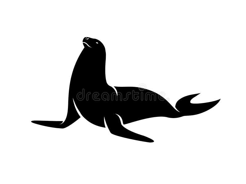 Vettore della siluetta del pesce della guarnizione illustrazione di stock