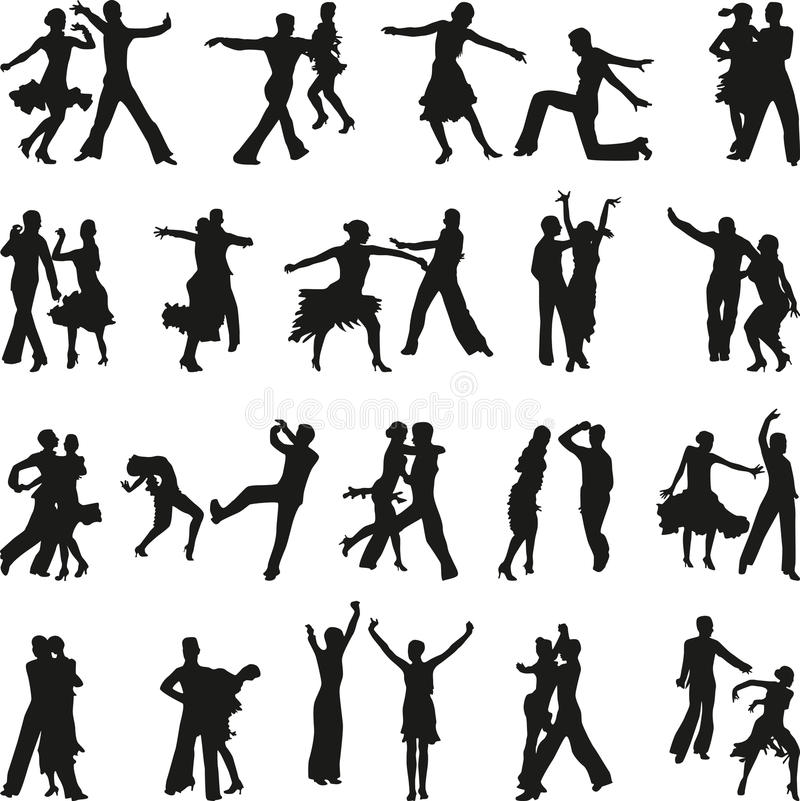 Vettore della siluetta della gente di ballo fotografia stock