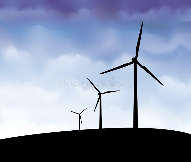 Vettore della siluetta delle turbine di vento fotografia stock libera da diritti
