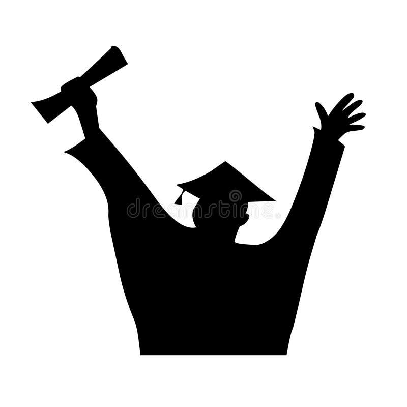 Vettore della siluetta di celebrazione di graduazione Marchio laureato royalty illustrazione gratis