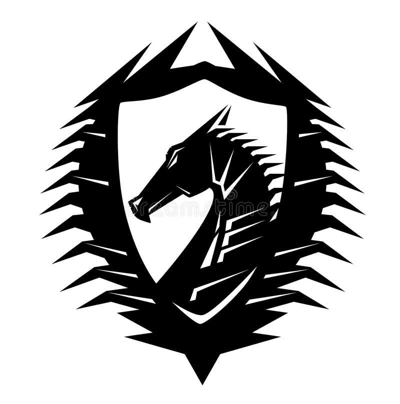 Vettore della stemma del nero della testa del drago illustrazione di stock