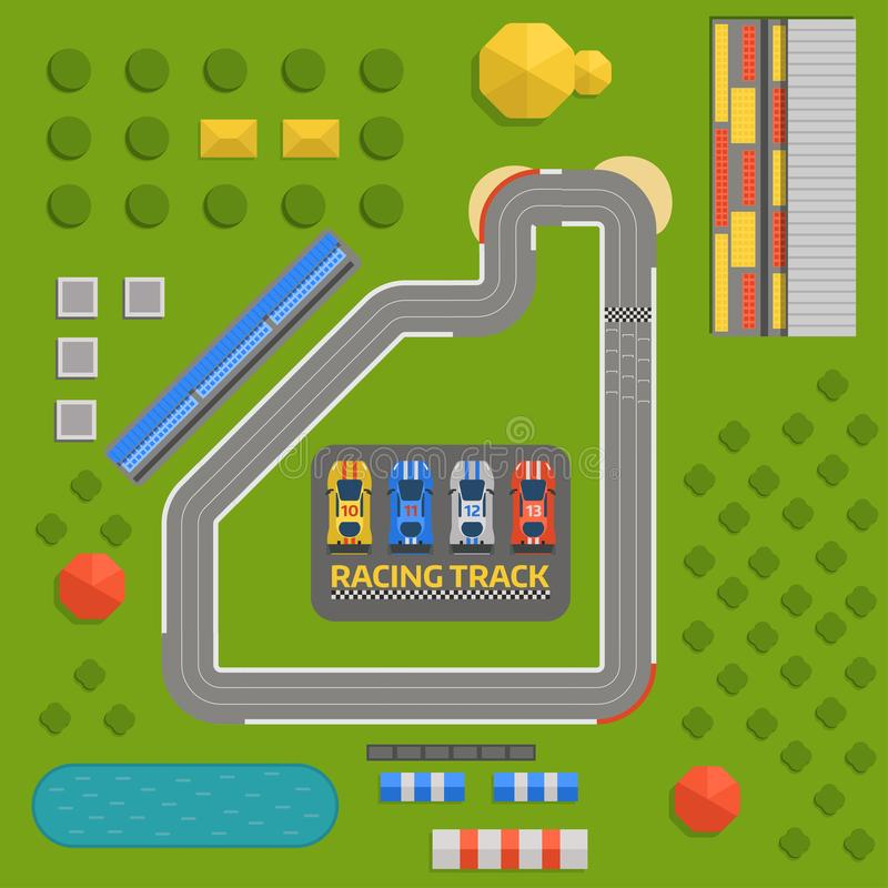 Vettore della strada del rinvio di sport della macchina da corsa Vista superiore dei simboli del costruttore della competizione s illustrazione di stock