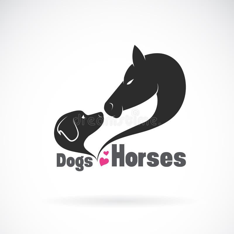 Vettore della testa di cavallo e di dogLabrador su fondo bianco pet animale Illustrazione stratificata editabile facile di vettor royalty illustrazione gratis