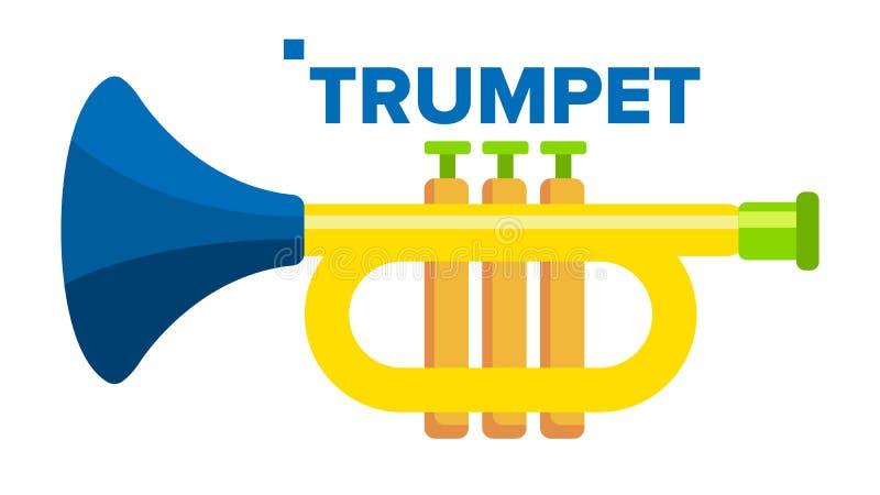 Vettore della tromba Strumento musicale del bambino Illustrazione piana isolata del fumetto royalty illustrazione gratis