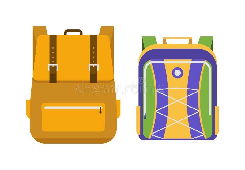 Vettore delle borse di scuola isolato illustrazione di stock