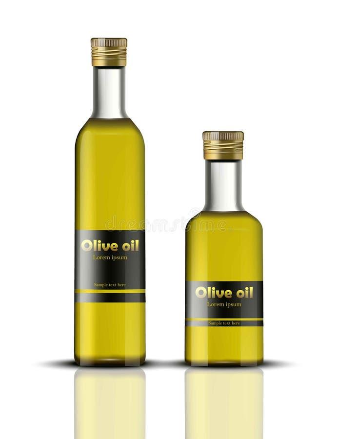 Vettore delle bottiglie di olio d'oliva realistico identità che marca a caldo, progettazione dell'alimento di imballaggio Prodott illustrazione vettoriale