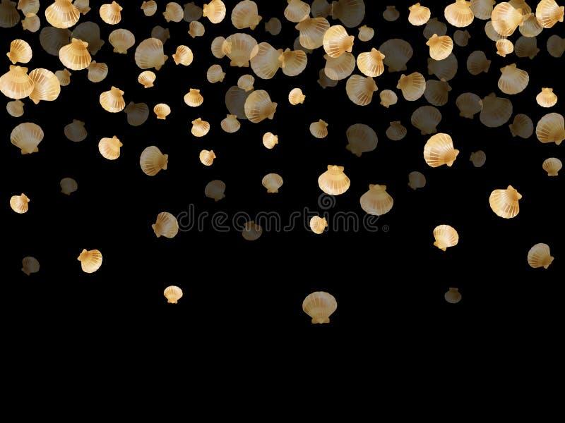 Vettore delle conchiglie dell'oro, molluschi bivalvi della perla dorata illustrazione vettoriale