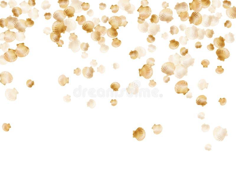 Vettore delle conchiglie dell'oro, molluschi bivalvi della perla dorata illustrazione di stock