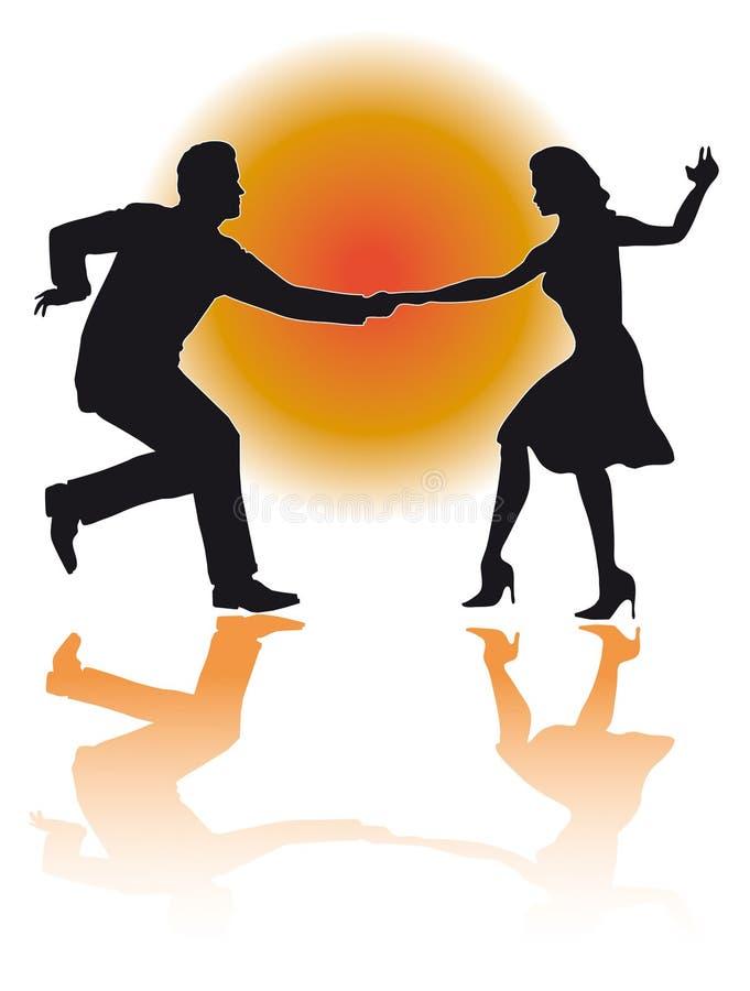 Vettore delle coppie di dancing dell'oscillazione illustrazione vettoriale