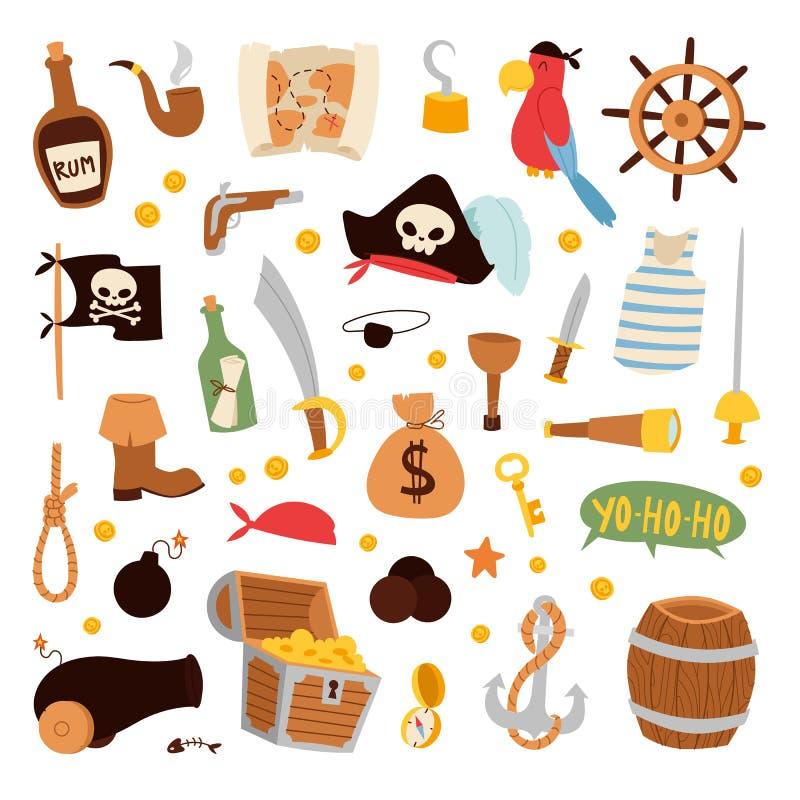 Vettore delle icone degli autoadesivi del pirata illustrazione di stock