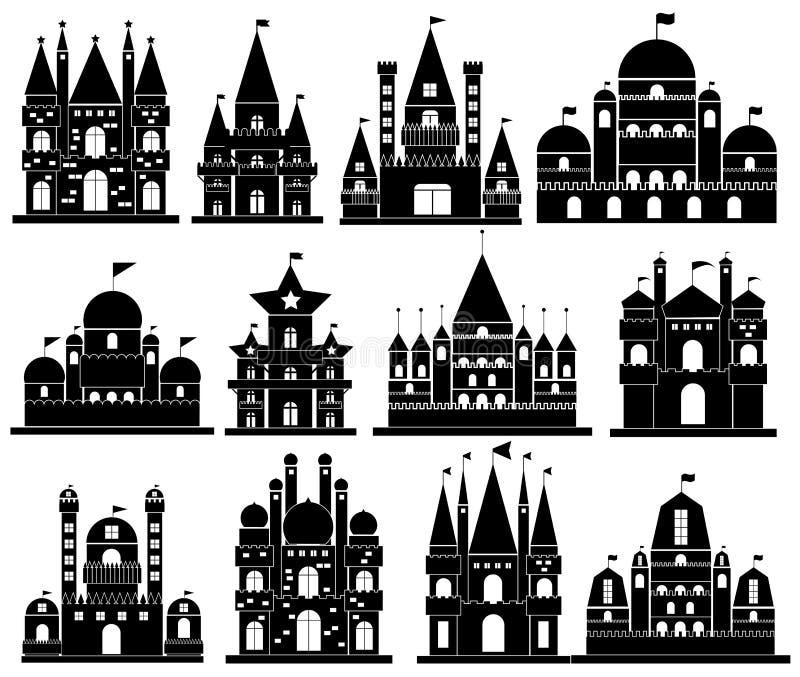 Vettore delle icone del castello royalty illustrazione gratis