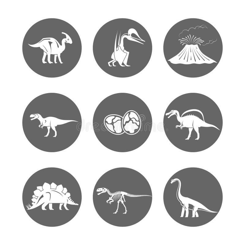 Vettore delle icone del dinosauro Uovo e vulcano di dinosauro, scheletro del dinosauro ed icona delle siluette di tirannosauro royalty illustrazione gratis