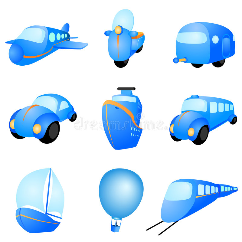 Vettore delle icone del trasporto