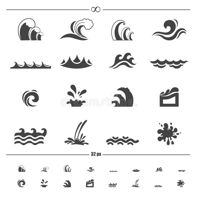 Vettore delle icone dell'onda di acqua illustrazione vettoriale