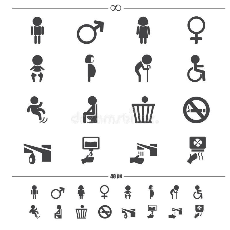 Vettore delle icone della toilette illustrazione vettoriale