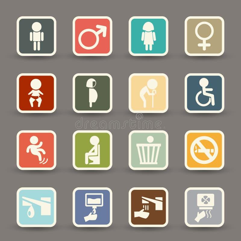 Vettore delle icone della toilette royalty illustrazione gratis