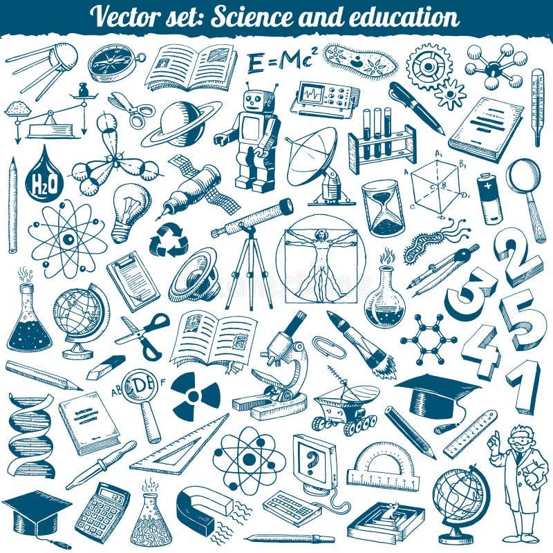Vettore delle icone di scarabocchi di educazione e di scienza illustrazione vettoriale